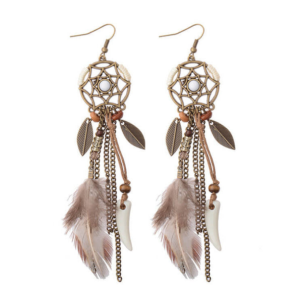 Long Drop Feather Bohemia Dreamcatcher Feather Tassel Earrings