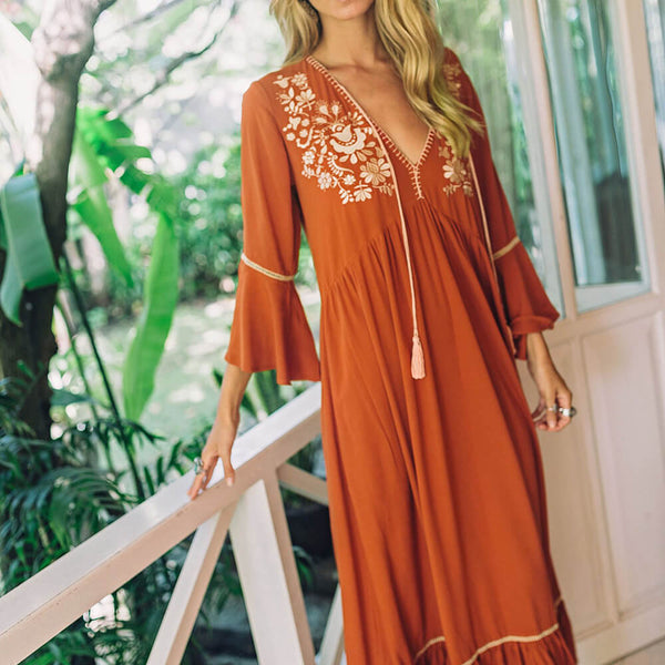 Boho Chic 3/4 Sleeve Embroidery Vacation Long Dresses