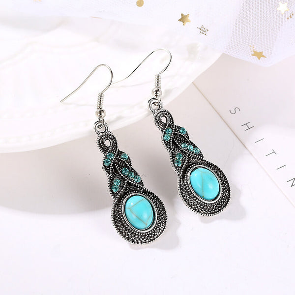 Bohemian Style Alloy Turquoise Dropp Earring