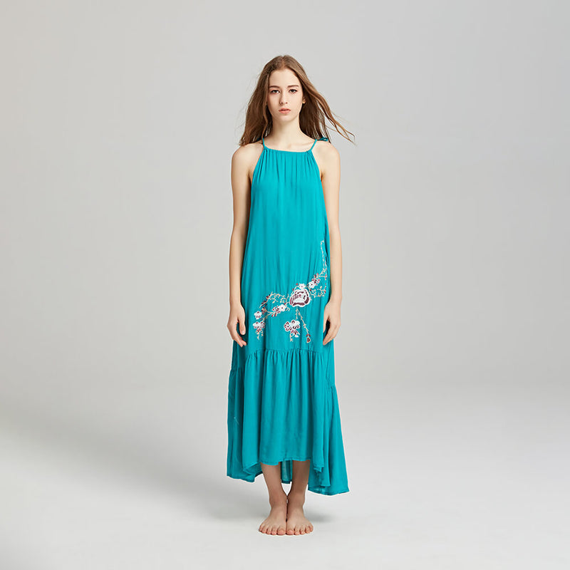 Sexy Sleeveless Strap Embroidery Loose Long Dress