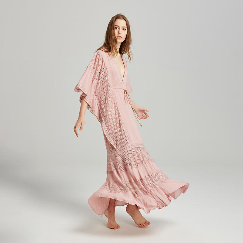 Bohemian Style Batwing Sleeve Vacation Dresses