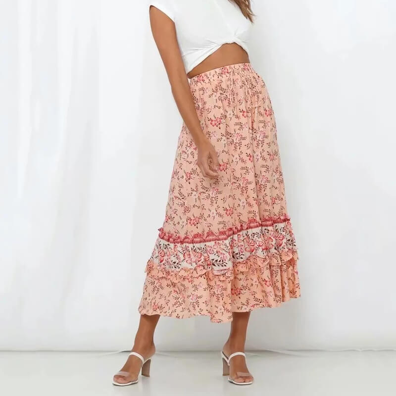 Floral Print Ruffles Frill Long Skirt - Shes Lady