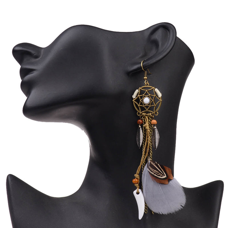 Long Drop Feather Bohemia Dreamcatcher Feather Tassel Earrings - Shes Lady