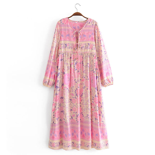 Casual Long Sleeve Floral Dress - Pink