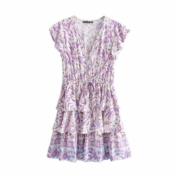 Ruffles Floral V Collar Short Dress - Shes Lady