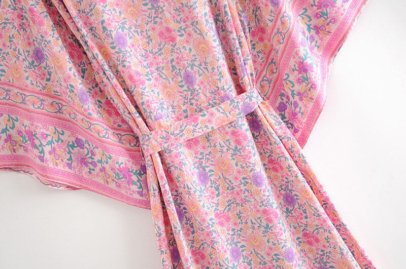 Pink Kimono Sleeve Floral Cardigan Long Blouse Belted Cover Up - Shes Lady