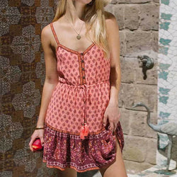 Floral Print Straps Button Tassle Waist Short Dress - Shes Lady
