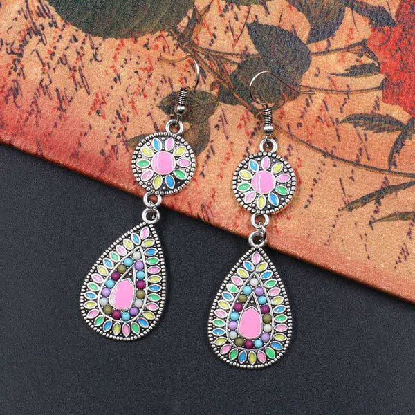 Ethnic Boho Flower Water Drop Women Earrings