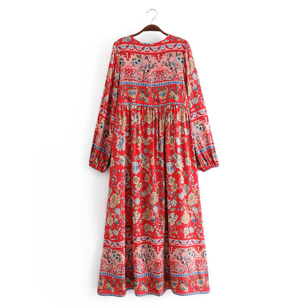 Vintage Floral Long Sleeve Midi Dress - Red