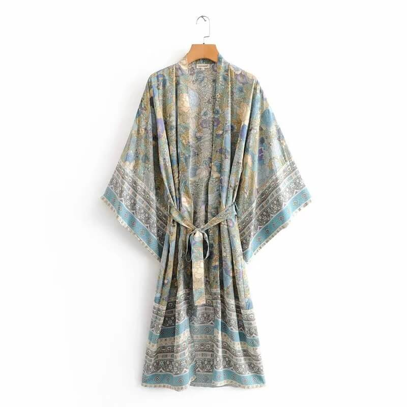 Bohemian Style Beach Cover Up Floral Kimono Long Blouse - Shes Lady