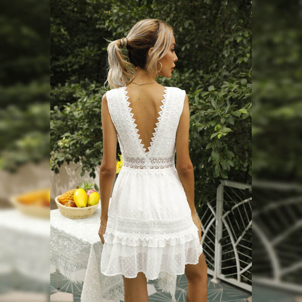 Hollow Out Lace Sleeveless Short Dress
