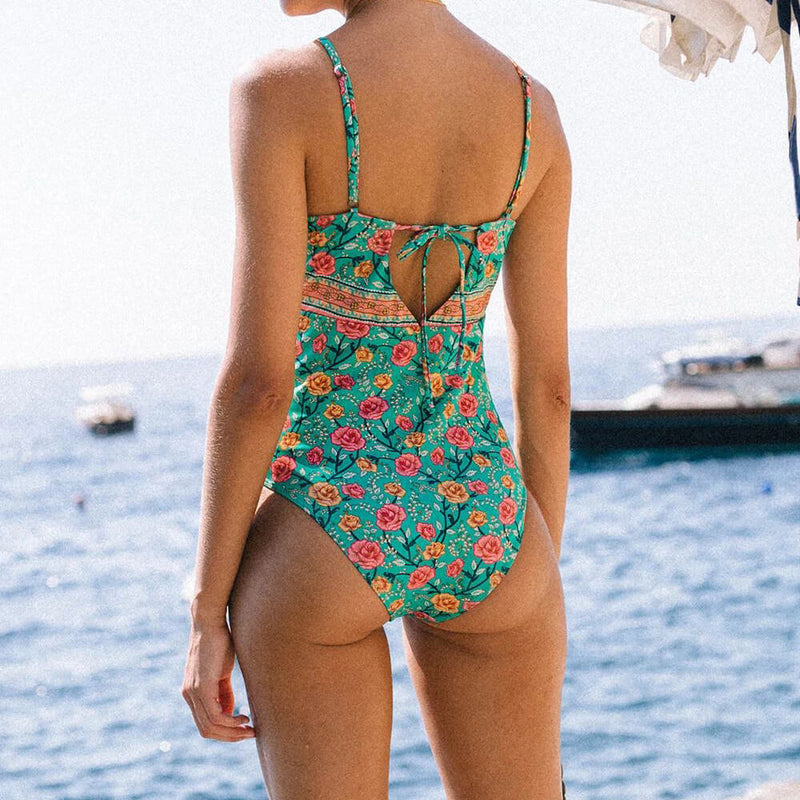 Bohemian Floral Print One Piece Swimsuit - Shes Lady