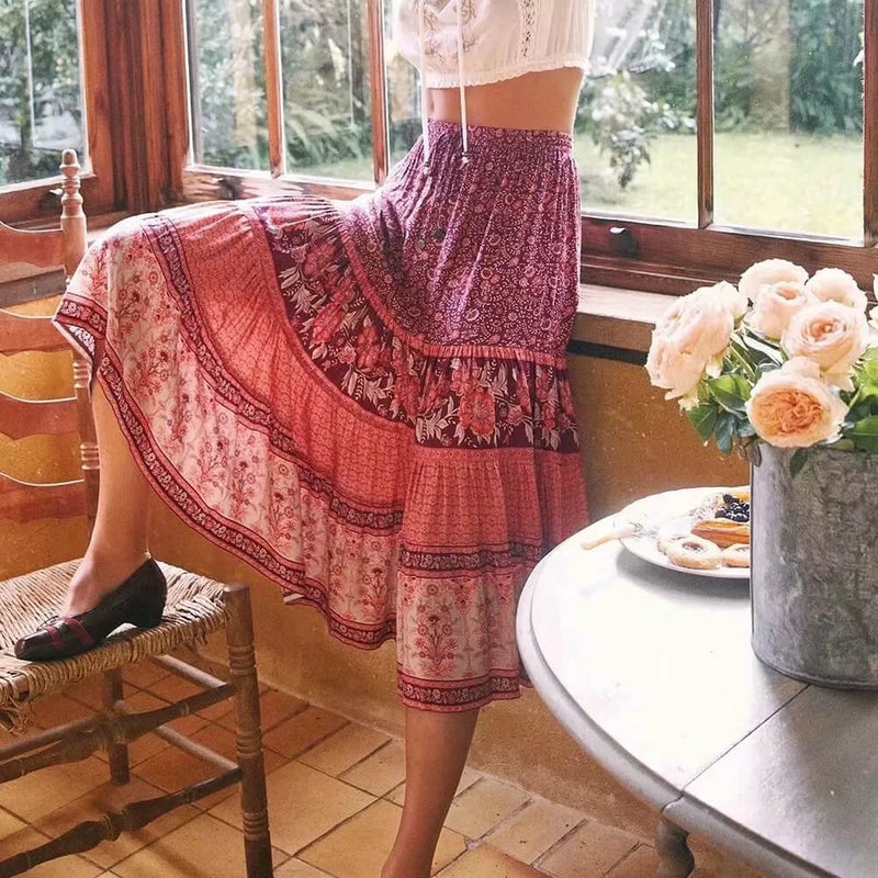 Harvest Floral Midi Skirt - Shes Lady