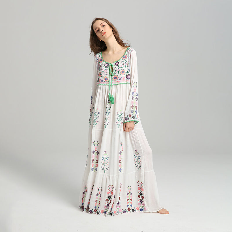 813f8147d1 Boho Long Sleeve Embroidery Tassel Floral Maxi Dress – Shes Lady