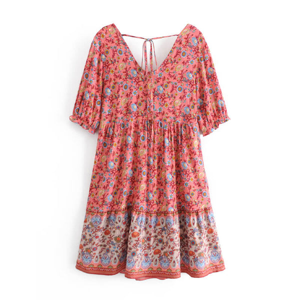 Elegant Floral V-Neck Boho Short Dress - Pink