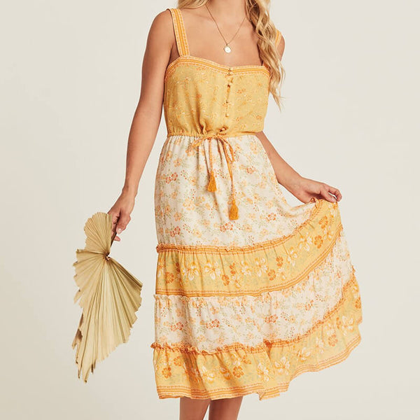 Elegant Sleeveless Strap Boho Midi Dress