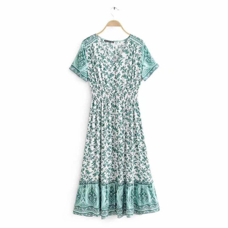 Floral Print Button Up Front Midi Dresses - Shes Lady