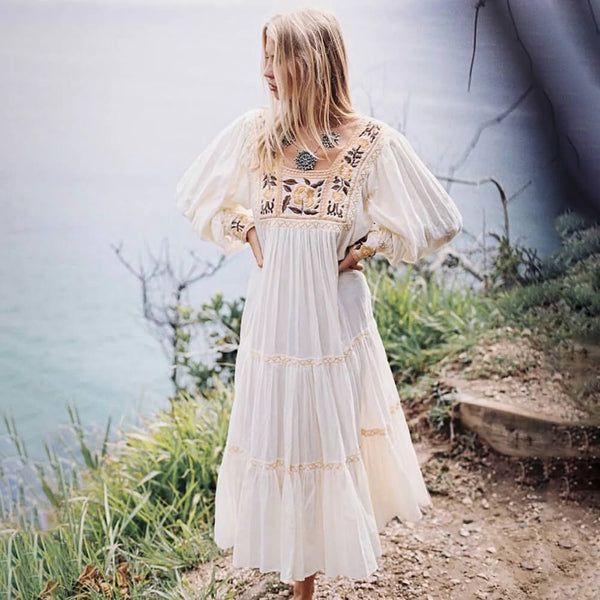 Cotton Embroidery Flower Boho Long Sleeve Dress - Shes Lady