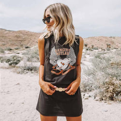 Rock and Roll Vibes Boho Sleevless Casual Short Shirt Dress - Shes Lady