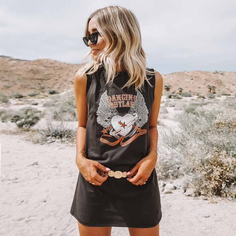 Rock and Roll Vibes Boho Sleevless Casual Short Shirt Dress