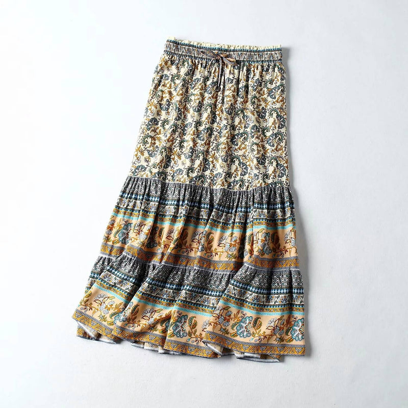 Floral Drawstring Flared Boho A-Line Skirt - Shes Lady
