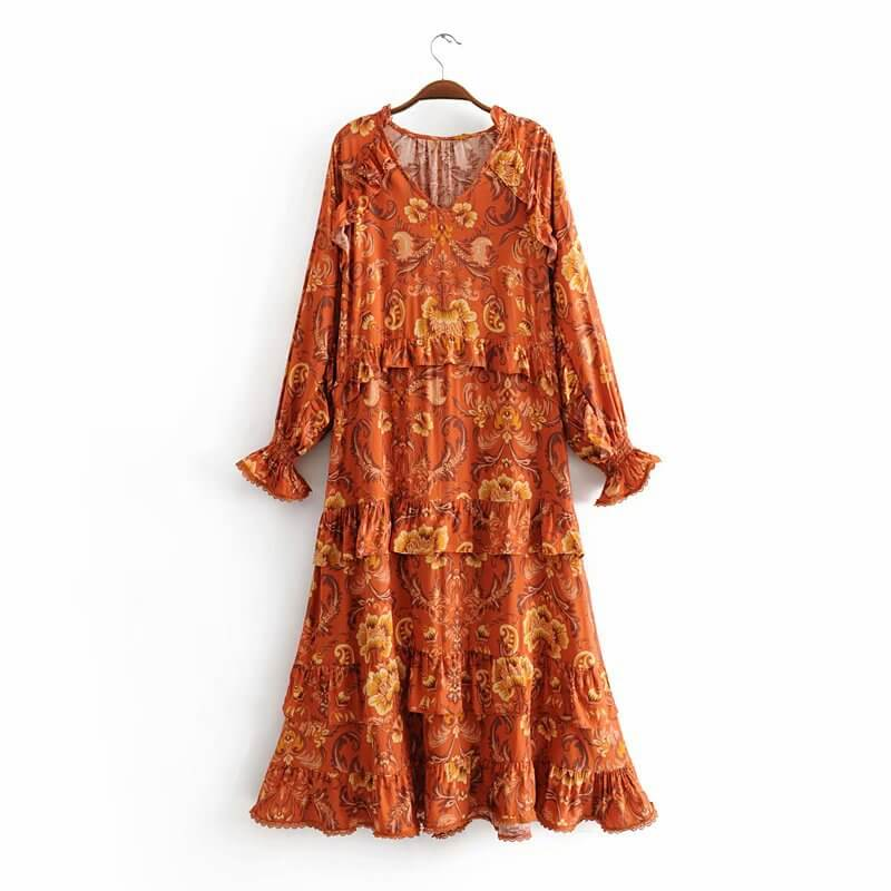 Victorian Style Paisley Print Long Sleeve Midi Dress - Shes Lady