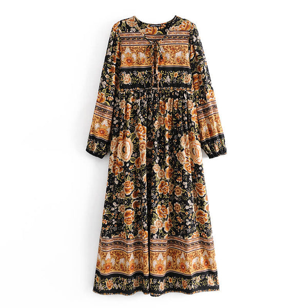 Retro Flower Print Tassel Tie Up Long Dress