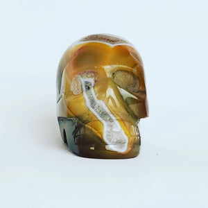 Yellow Agate Skull with Geodes