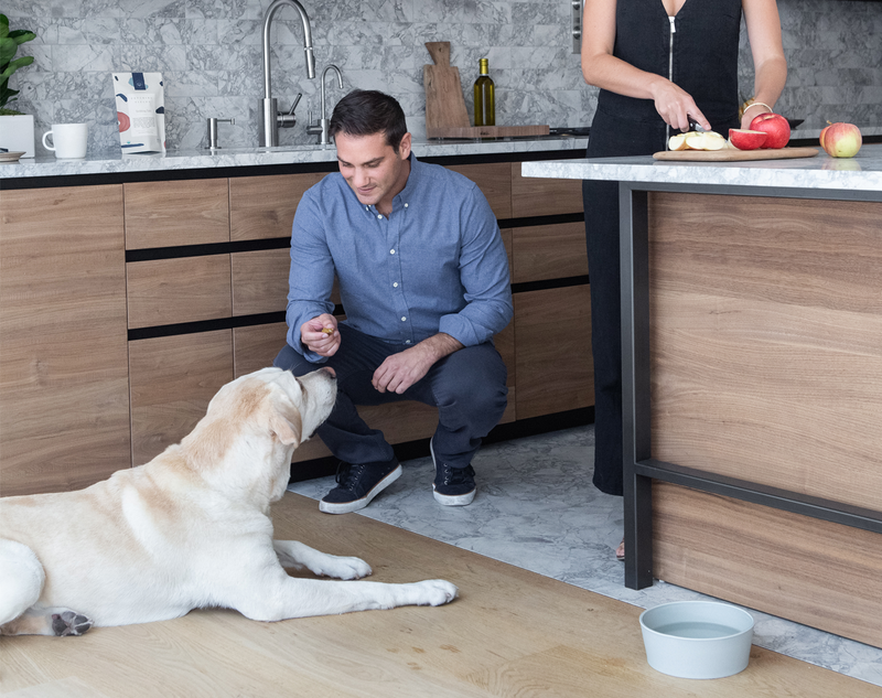 Fetching Fields Founder enjoys giving his dog plant-based snacks at home