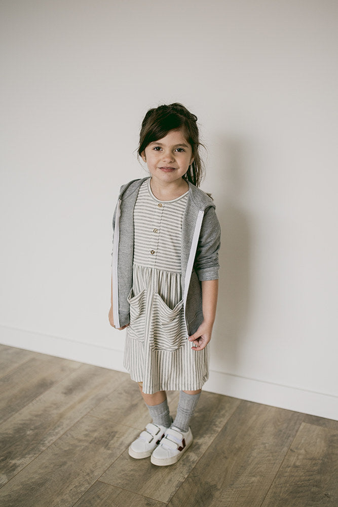 meadow dress | grey stripes