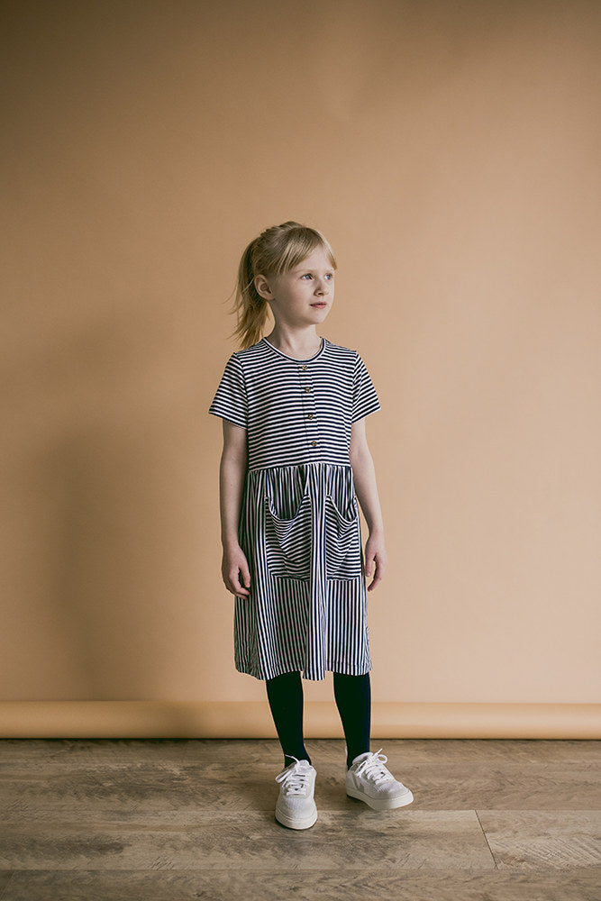 meadow dress | navy stripes