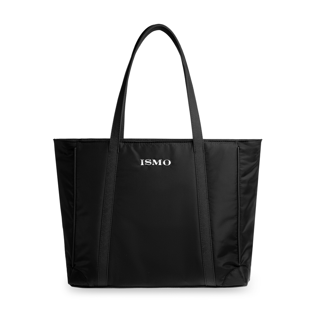 Tote con sección acolchonada para Laptop de ISMO essentials. De nylon impermeable negro. Black bag.