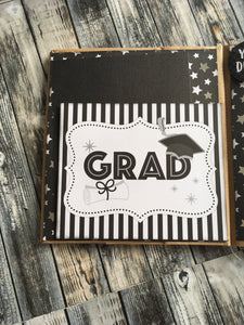 GRADUATION paper bag album Hats off scrapbook memory book Just Add Photos GRADUATE Gift Idea