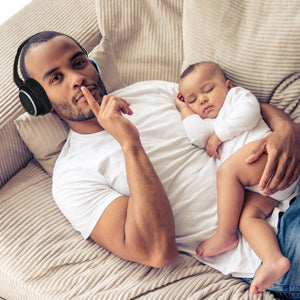 Don't wake the sleeping baby dad headphones wireless bluetooth father
