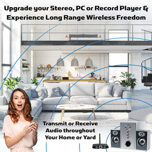 Upgrade your stereo, pc or record player and experience long range wireless freedom