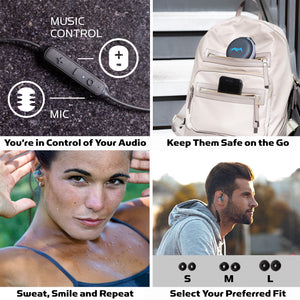 You're in Control of Your Audio with in line controls, Hard Shell Carrying Case, 3 size earbuds for the perfect fit