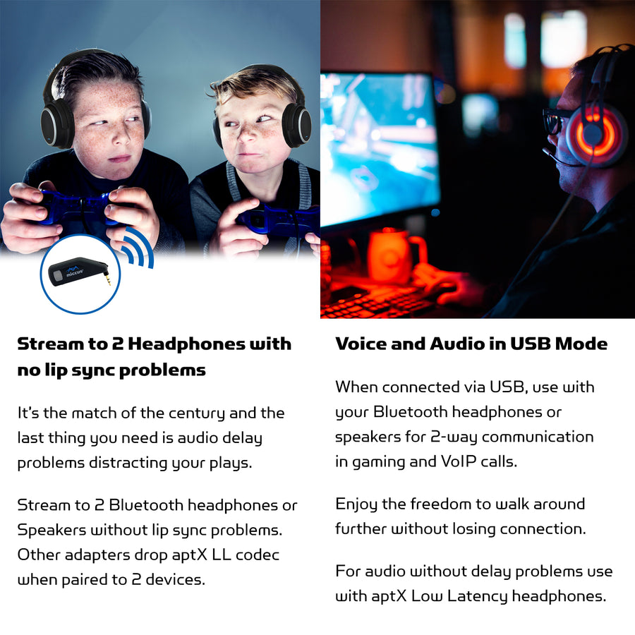 Connect to 2 Bluetooth Headphones or Speakers, Voice over USB for 2 way communication for Gaming or VoIP