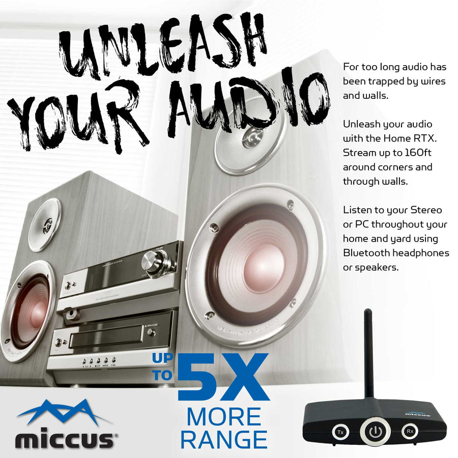 Unleash your audio and stream past ordinary bluetooth limits of 33ft