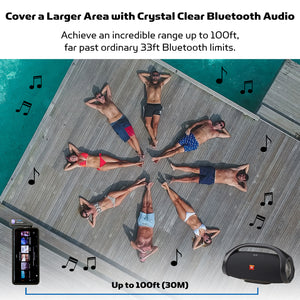 Cover a large area with crystal clear reliable Bluetooth signal, up to 100ft, far past ordinary 33ft bluetooth limits