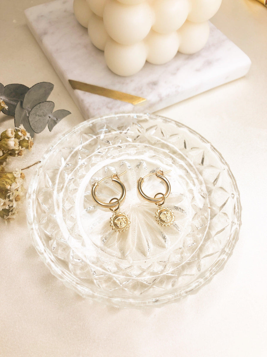 Luna Sun face Hoops - OHZO JEWELLERY BY J