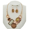 Bejeweled Necklace & Earring Set (Rose/Gold)