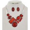 Bejeweled Necklace & Earring Set (Red/Silver)