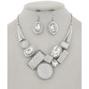 Bejeweled Necklace & Earring Set (White/Silver)