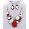 Bejeweled Necklace & Earring Set (Red/White/Silver)