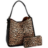Leopard Handbag & Wallet Set (Black)