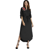Embroidered Applique Tunic/Dress (Black)