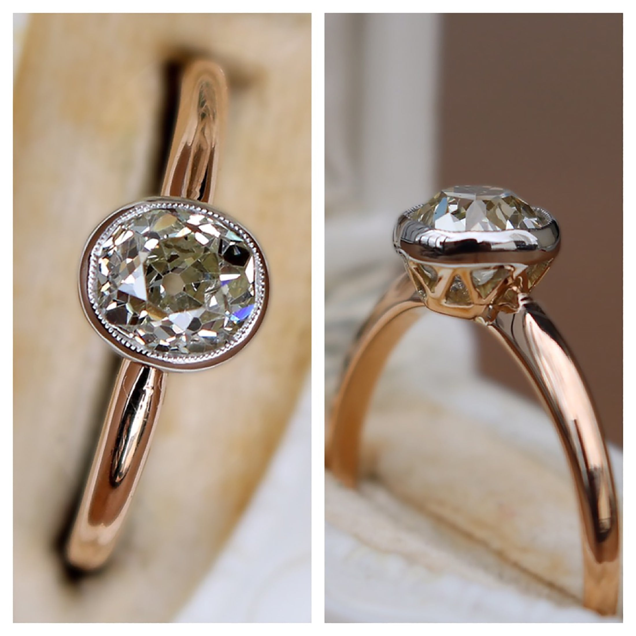 Edwardian oval european cut diamond ring