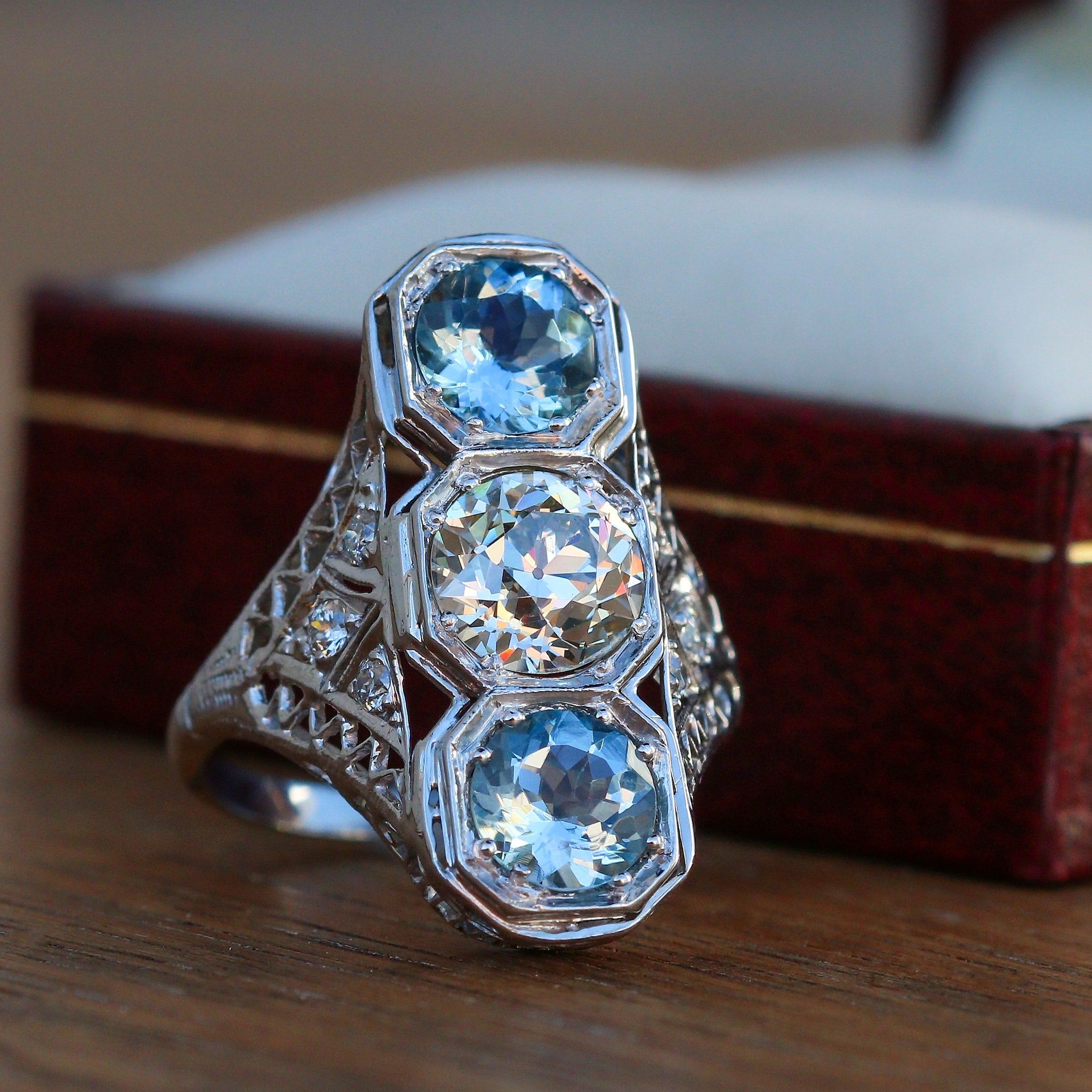 Art Deco aquamarine and diamond dinner ring