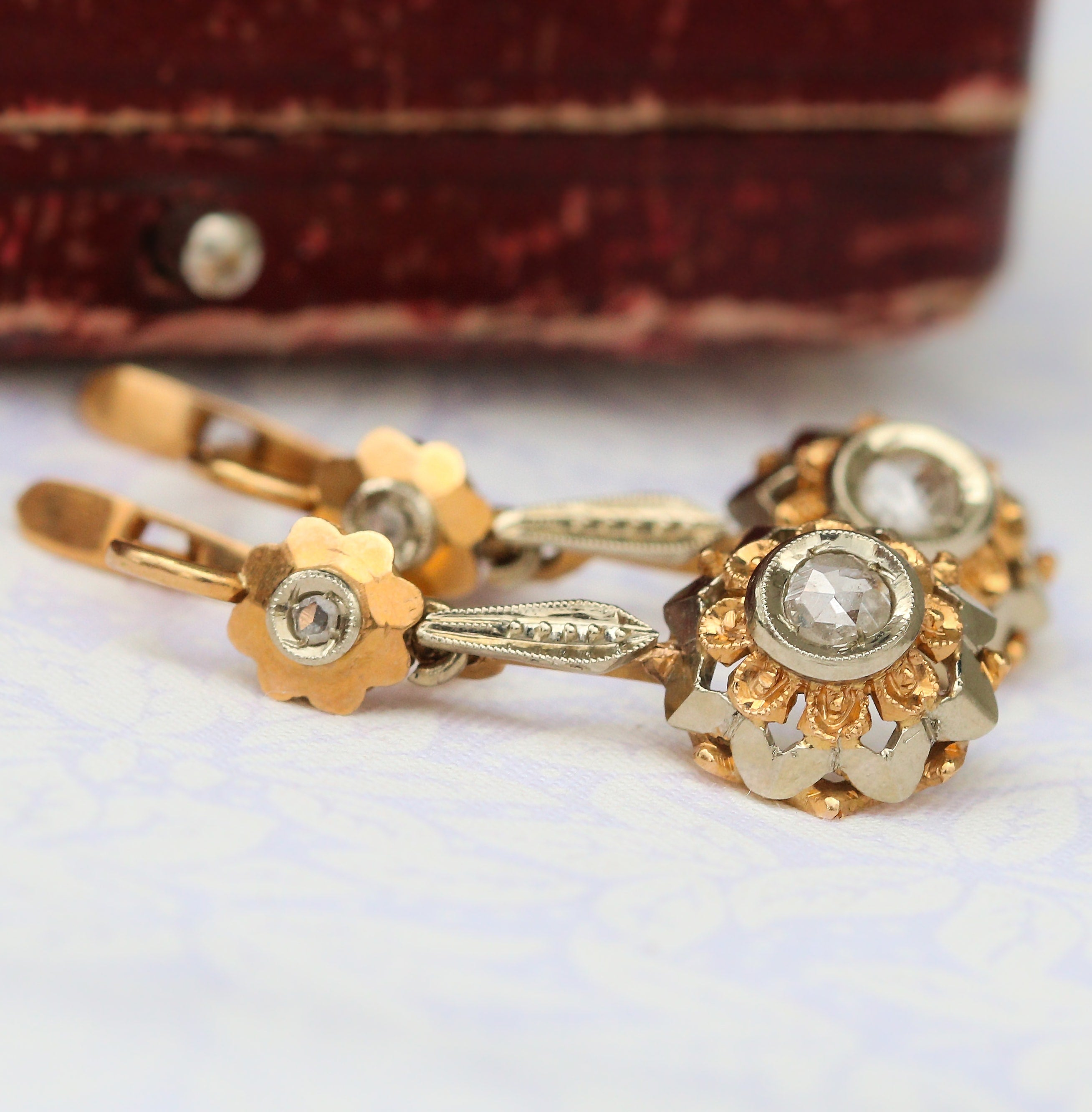 Victorian yellow gold and rose but diamond earrings
