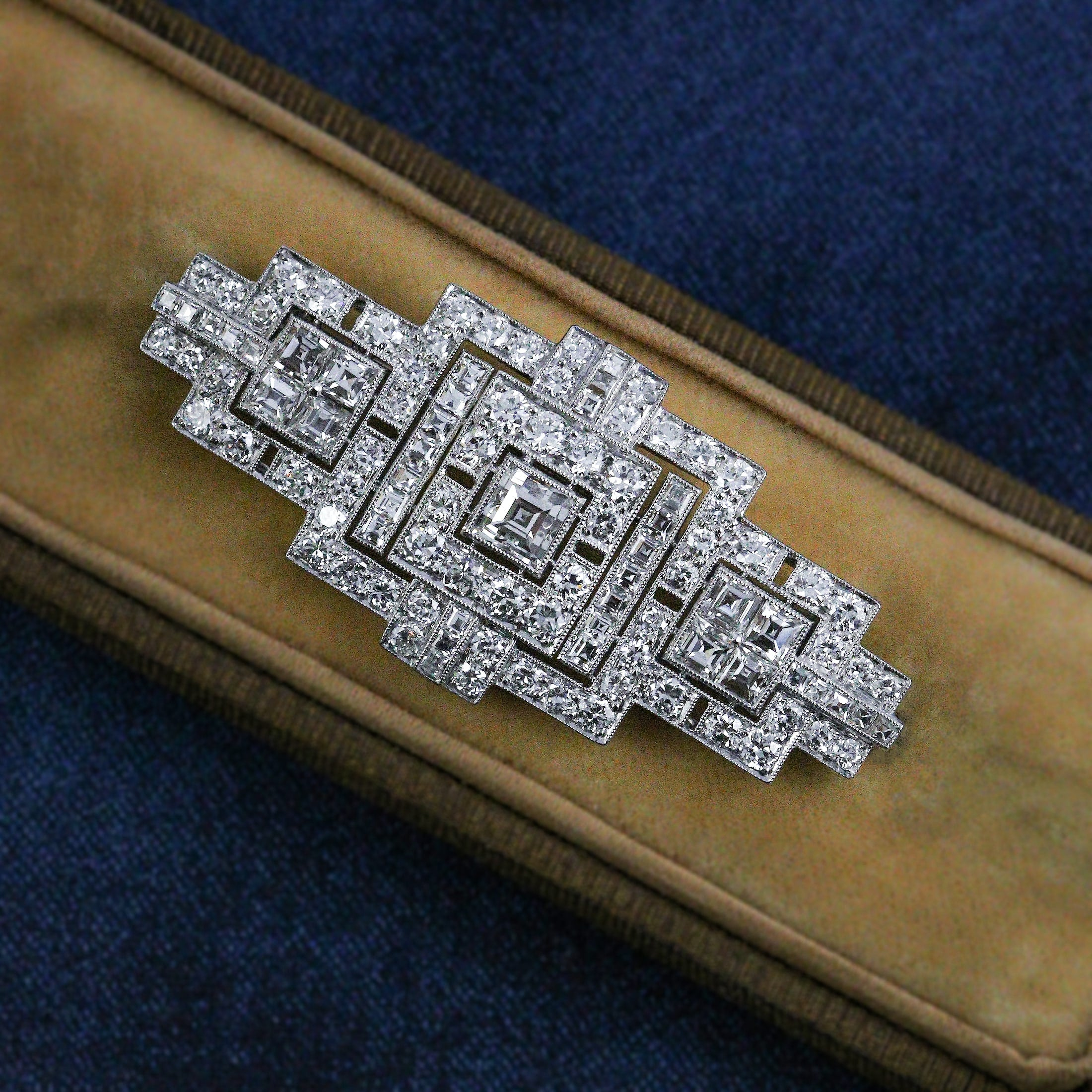 Art deco step cut dimaond brooch